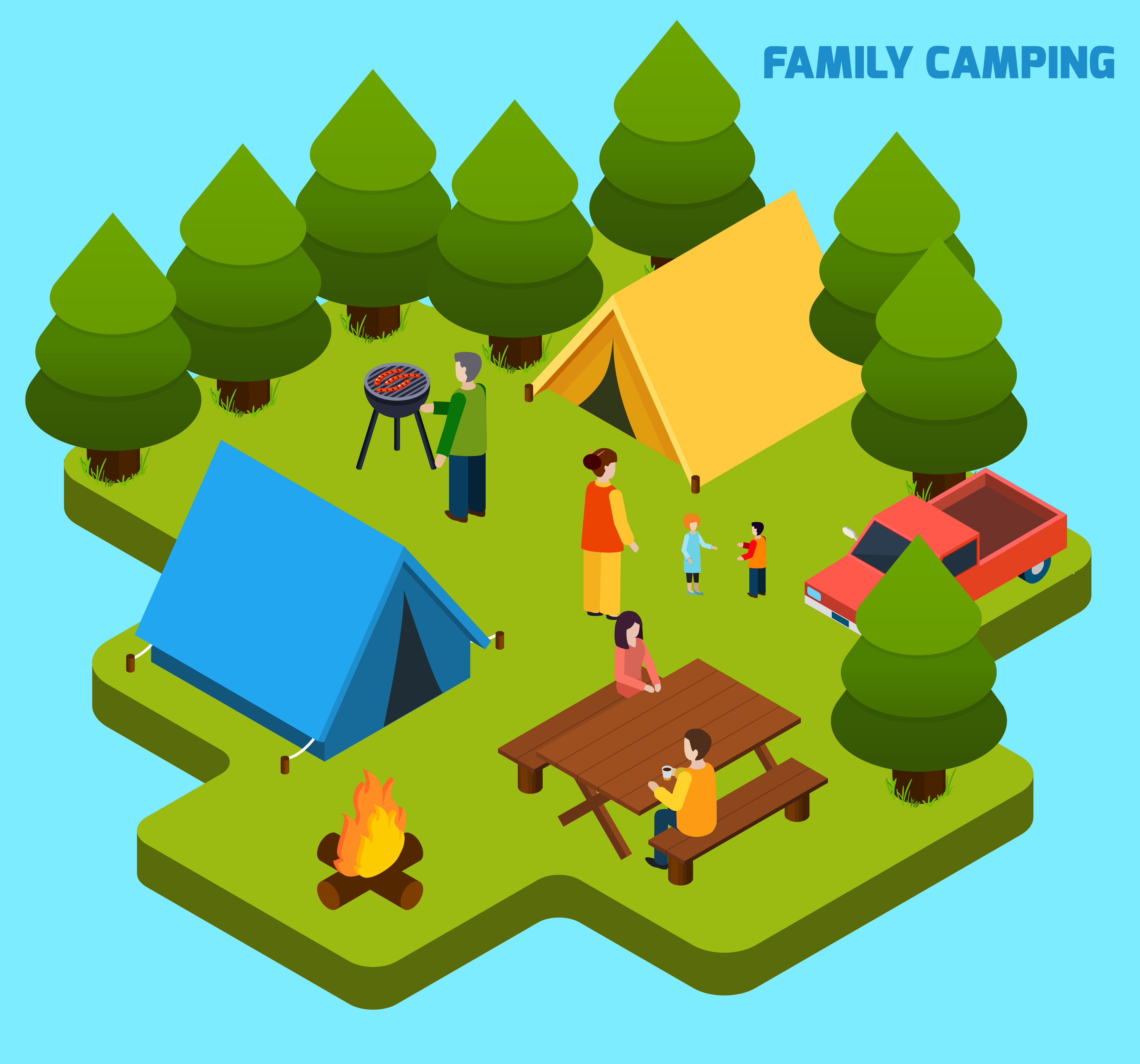 Camping And Travel Isometric Composition Download Free Vectors Clipart Graphics Vector Art