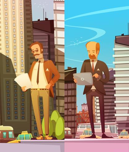Två affärsmän på stor stadsbakgrund
