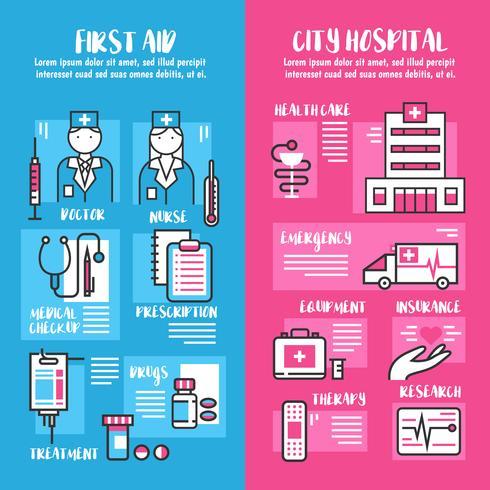 Banners de línea vertical médica