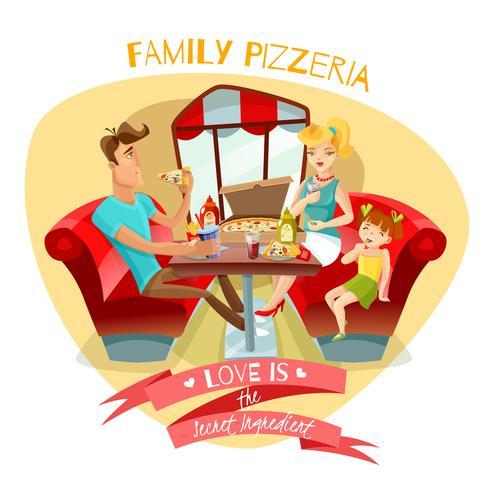 Ilustración vectorial de pizzería familiar