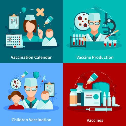 Vacunación plana 2x2 concepto de diseño vector