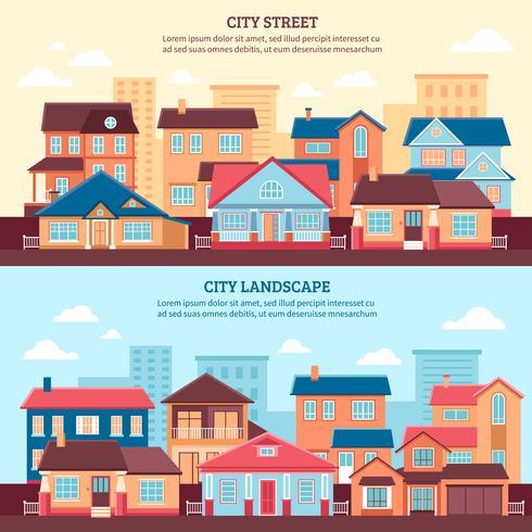 City Landscape Flat Banners vector