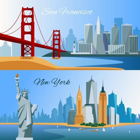 Banners de composição plana EUA