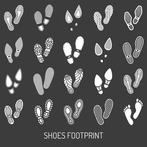 Ensemble de chaussures empreinte