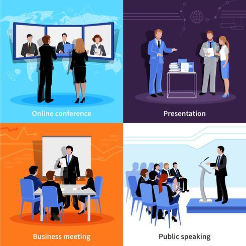 Conferencia pública presentación 4 iconos planos