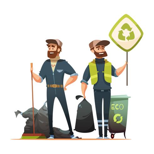 Garbage Sorting Collecting Recycling Cartoon Illustration