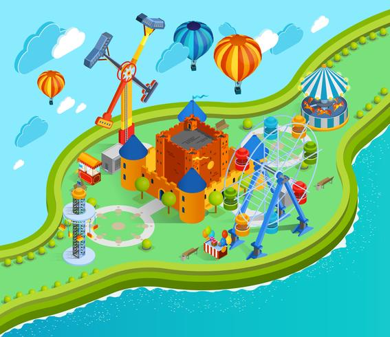 Pretpark Isometrische Cartoon Samenstelling vector