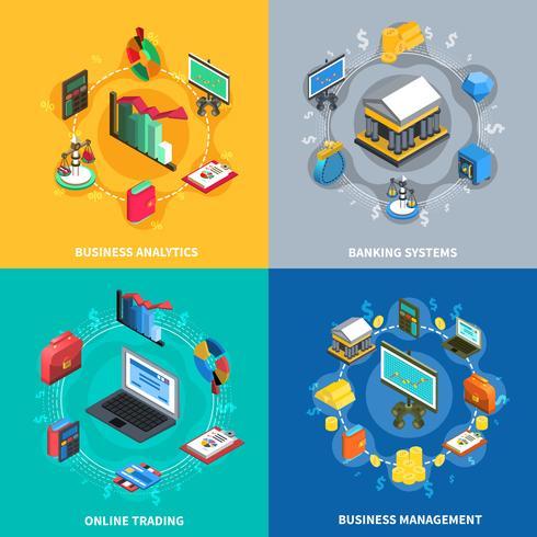 Composição de ícones financeiros isométrica Square