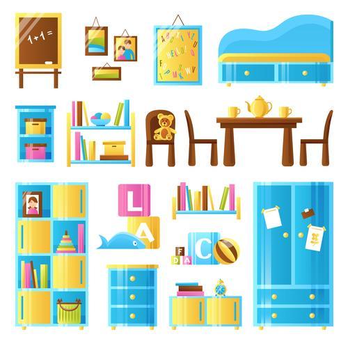Conjunto de colores para muebles de habitación de bebé vector
