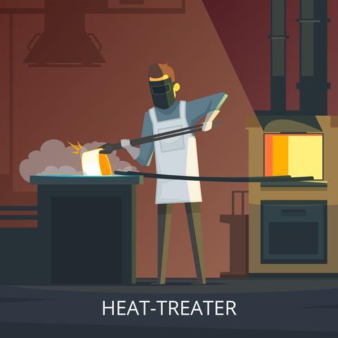 Affiche de dessin animé rétro de forgeron au travail vecteur