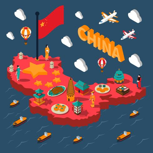 China Touristic Isometric Map vector