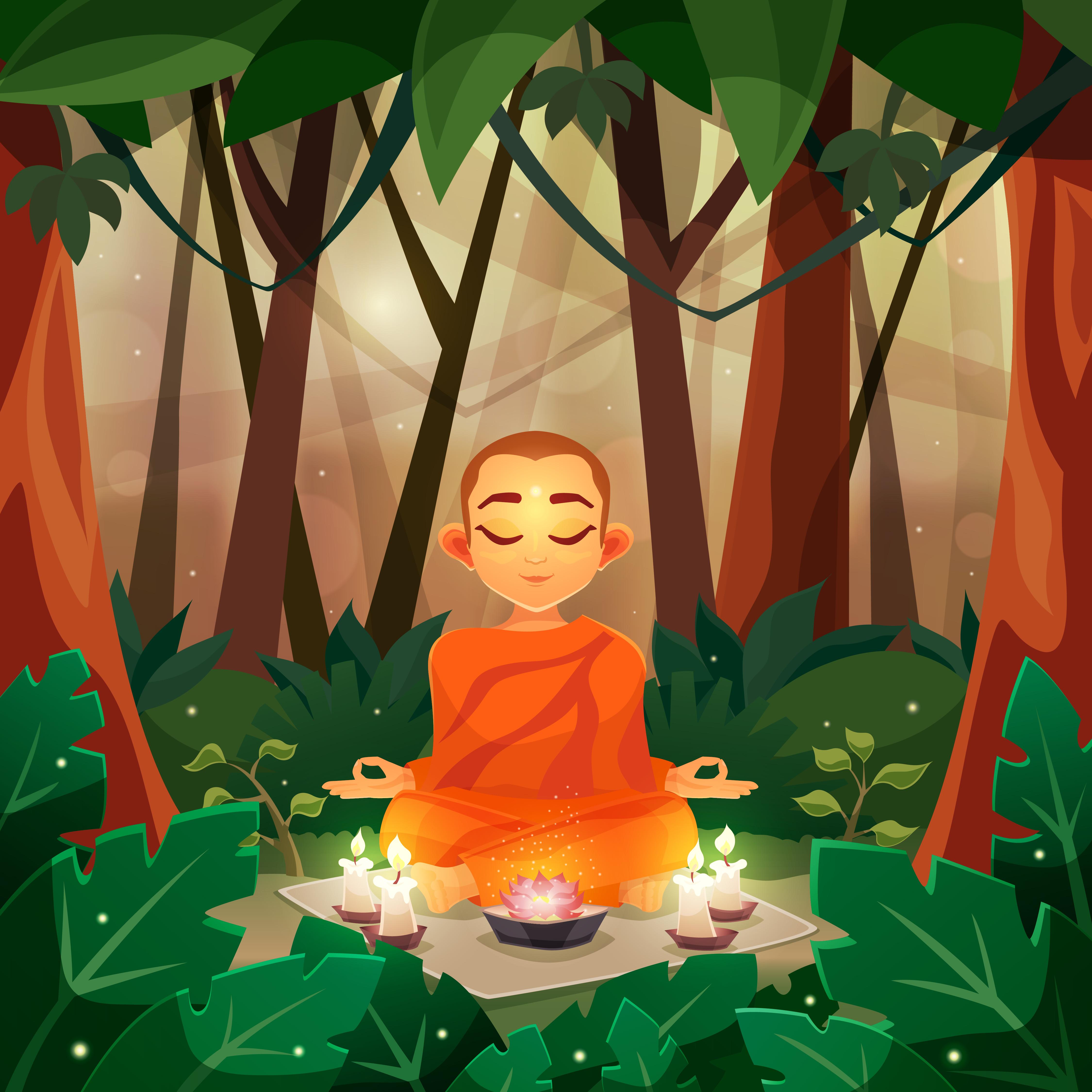 Buddha Flat Illustration Download Free Vectors Clipart