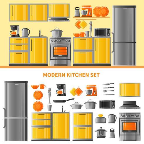 Keuken ontwerpconcept met binnenlandse techniek vector