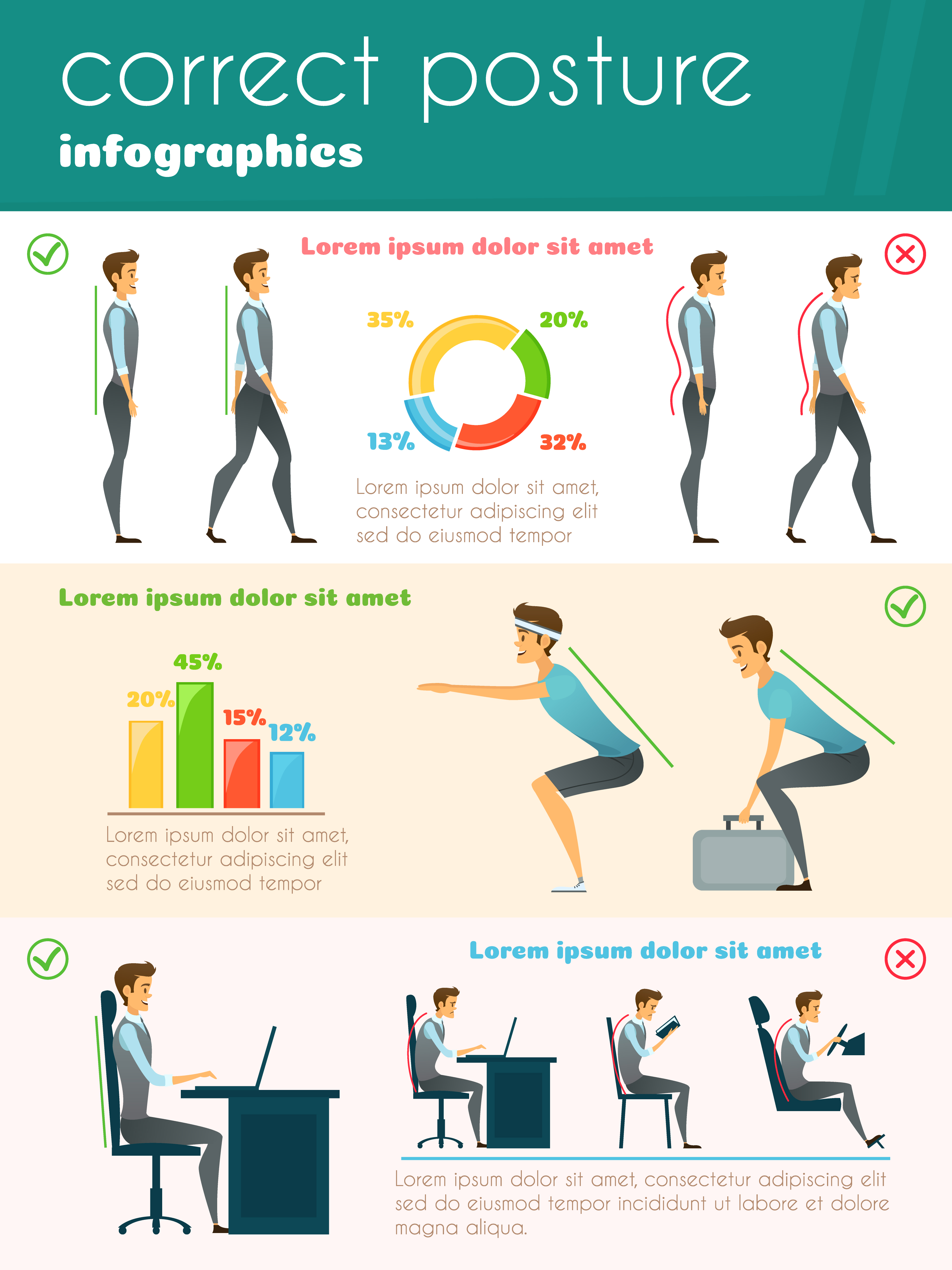 Posture Infographics Template