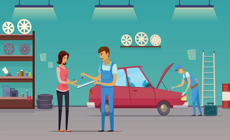 Autoservice-Garage-Karikatur-Zusammensetzungs-Plakat vektor