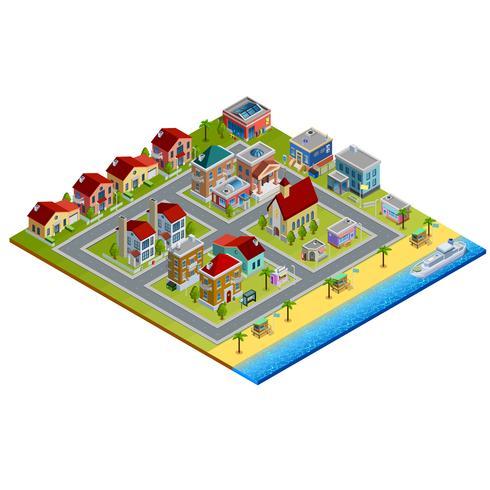 isometrisk stad illustration