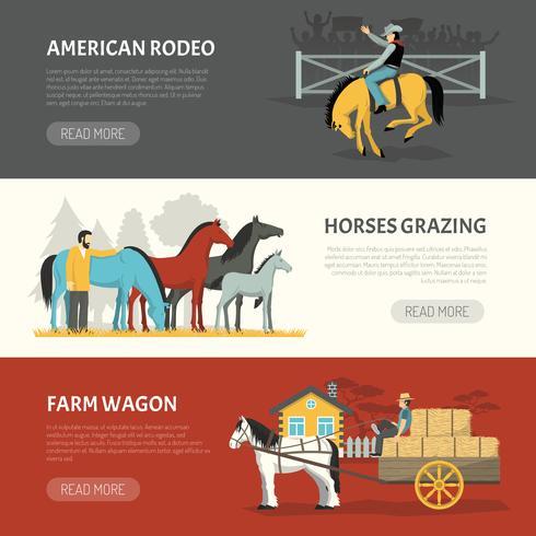 Beliebte Pferde züchtet horizontale Banner vektor