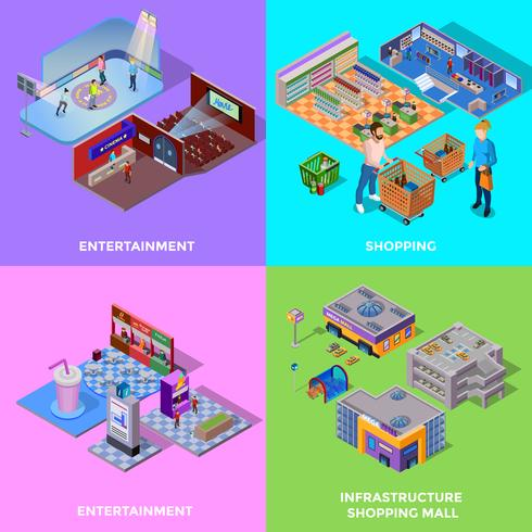 Centro comercial 2x2 Icons Set vector