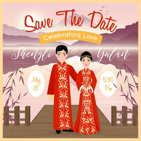 Cartel de pareja de boda chino