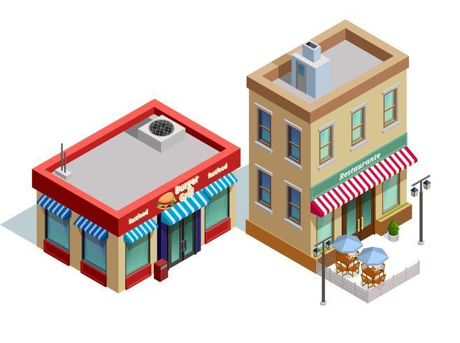 Composição de edifícios de restaurante vetor