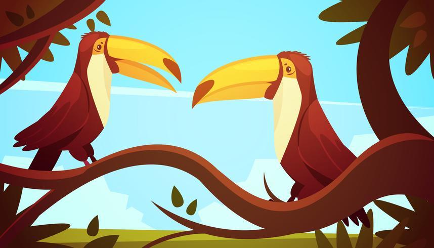 Cartel del fondo de los pájaros del tucán