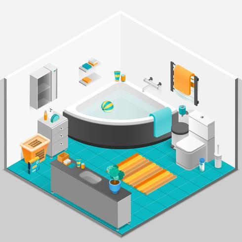 Ilustração isométrica Interior de casa de banho