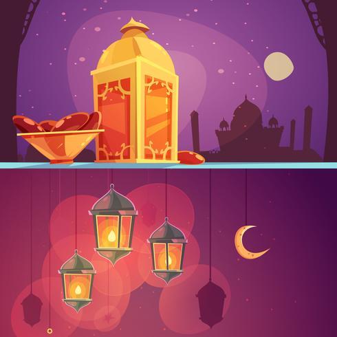 Ramadan Cartoon Banners vector