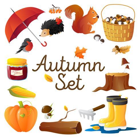 Cartel de composición redonda conjunto de iconos de otoño