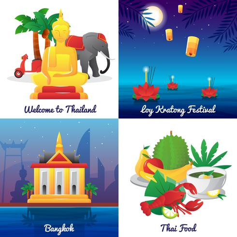 Thailand Culture 4 Flat Icons Square