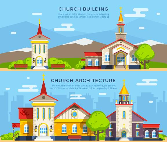 Church Flat Banners vector