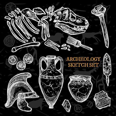 Archeology Chalkboard Sketch Set