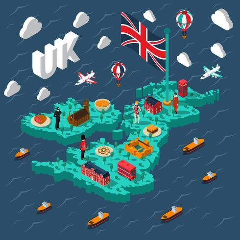 Mappa isometrica turistica della Gran Bretagna
