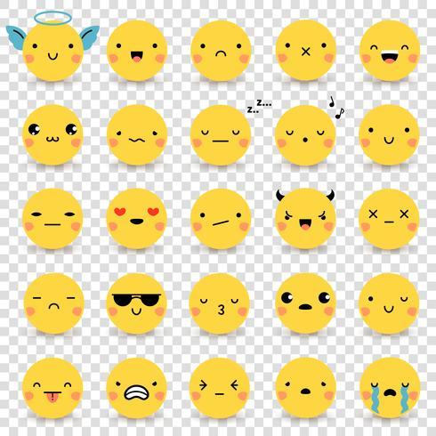 Emoticons transparante set