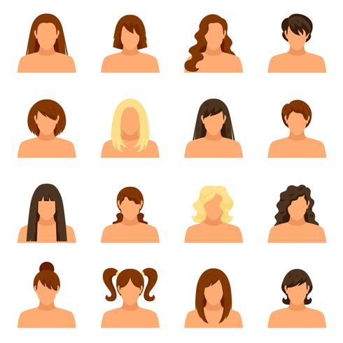 Woman Hairstyle Icons Set vector