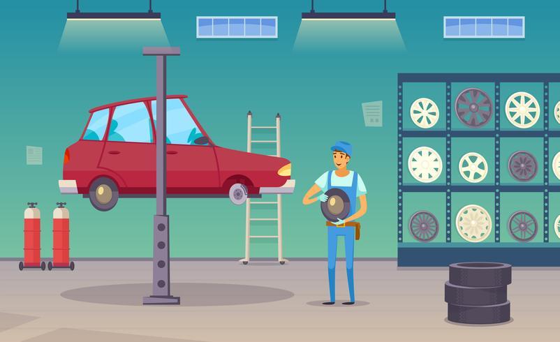 Affiche de composition de dessin animé de garage de service de voiture