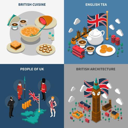 Great Britain Touristic Isometric 2x2 Icons Set