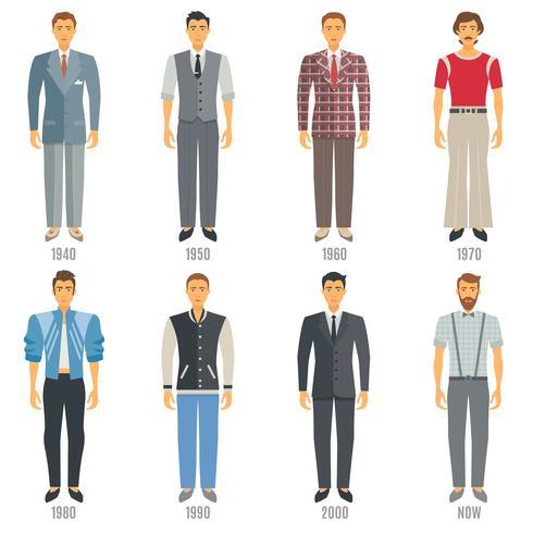 Conjunto de ícones de evolução de moda masculina