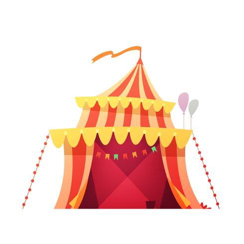 Icône de dessin animé rétro tente de cirque de voyage