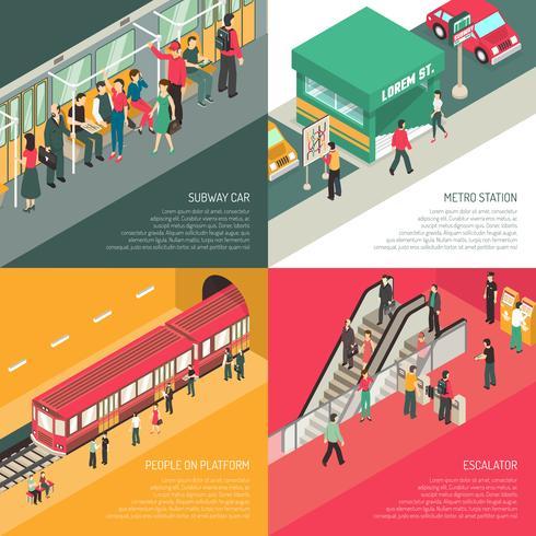 Metro metro 4 iconos isométricos cuadrados vector
