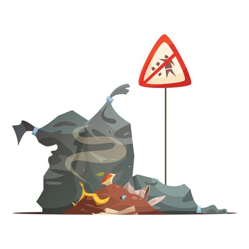 Sinal de aviso de eliminação de lixo Cartoon ícone