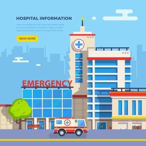 Ospedale illustrazione piatta