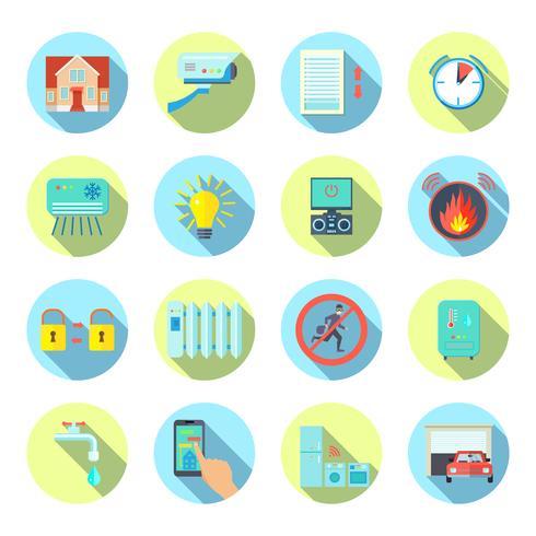 Casa inteligente rodada conjunto de ícones