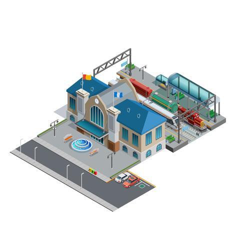 Miniatura isométrica de estação de trem vetor