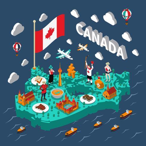 Mapa isométrico do Canadá