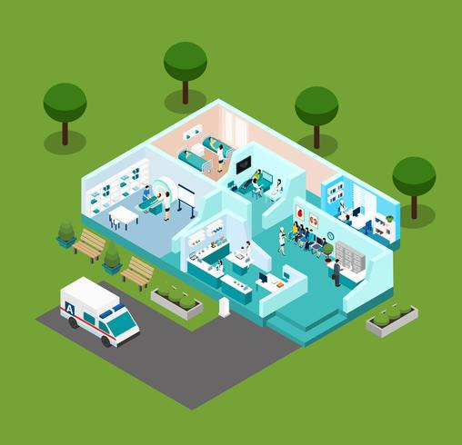 Medical Center Isometric Scheme Icons vector