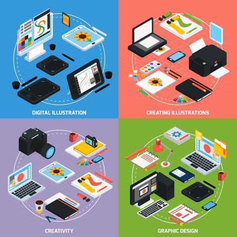 Isometrisches Konzept des Grafikdesigns 2x2