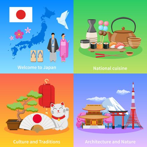 Japan Culture 4 Plat pictogrammen Vierkant vector