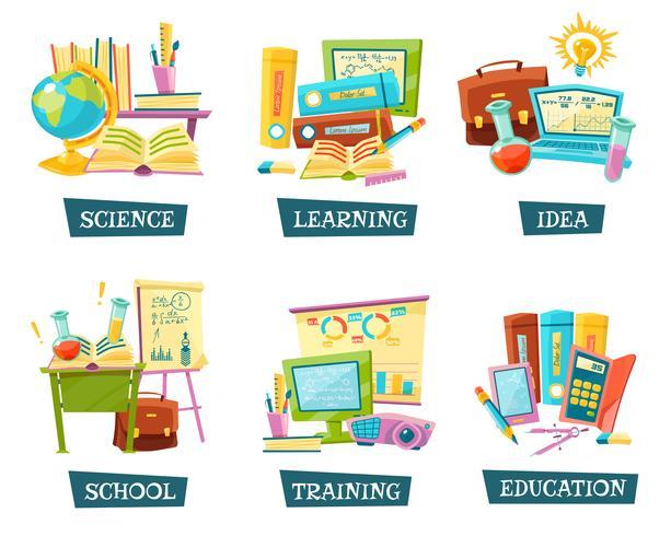 Conjunto de objetos de educação de treinamento escolar