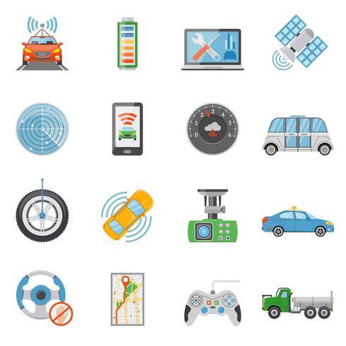 Conjunto de ícones de veículo autônomo de carro sem motorista