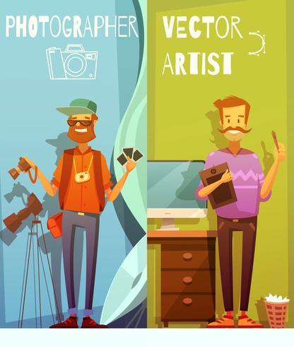 Zwei Fahnen mit lustigem Fotografen und Künstler